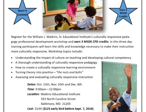 Fall 2018 Implementing a Culturally Responsive Practice Workshop