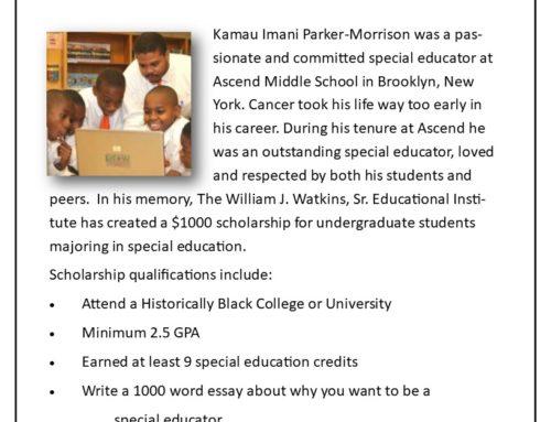 Kamau Imani Parker-Morrison Scholarship