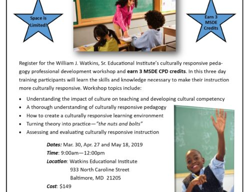 Spring 2019 Implementing a Culturally Responsive Pedagogy Workshop