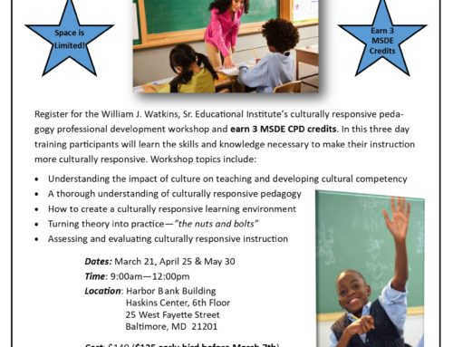 Spring 2020 Implementing a Culturally Responsive Practice Workshop